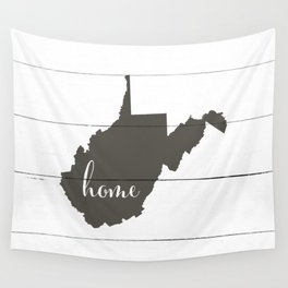 West Virginia is Home - Charcoal on White Wood Wall Tapestry