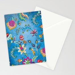 Blue Lapis Velvet Texture Chintz Multicolour Bohemian Floral Pattern Stationery Cards