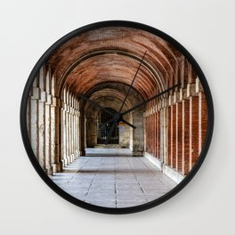 Arcade in Royal Palace of Aranjuez in Madrid Wall Clock