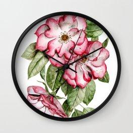 Blooming Pink Garden Roses Wall Clock