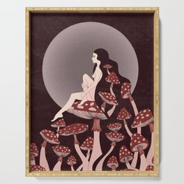 Mushroom Queen, 70s, 60s, 1920s, art nouveau inspired art Serving Tray