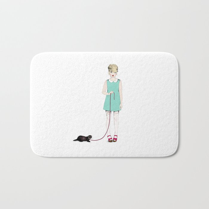 The girl with the ferret Bath Mat