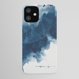 Where does the dance begin? A minimal abstract acrylic painting in blue and white by Alyssa Hamilton iPhone Case