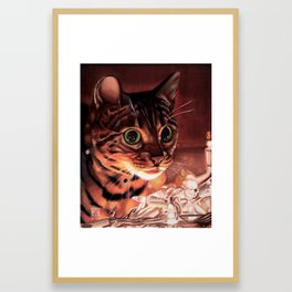 The Illuminated Feline Framed Art Print
