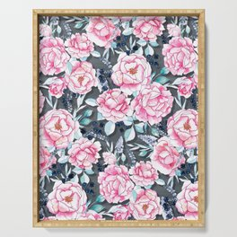 Take Time - Roses on Grey Serving Tray