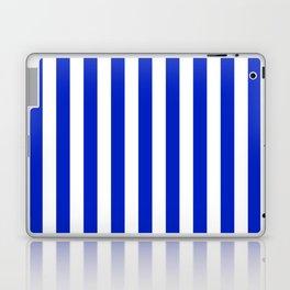 Cobalt Blue and White Vertical Beach Hut Stripe Laptop & iPad Skin