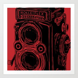 Vintage Rolleiflex (Red/ Black) Art Print