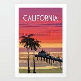 California beach palms Vintage travel poster  Art Print