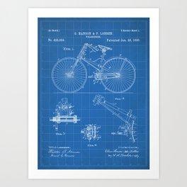 Cycling Patent - Bicycle Art - Blueprint Art Print