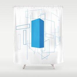 Blueprint #3 (blue) Shower Curtain