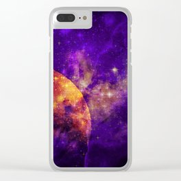 Planet, Nebula and Stars Clear iPhone Case