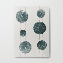 Marble Circles with Golden Stripes Metal Print