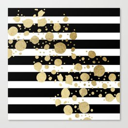 Faux Gold Paint Splatter on Black & White Stripes Canvas Print