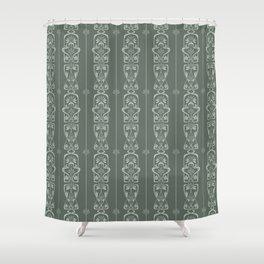 Sage Green - Vintage Art Nouveau Flowers and Leaves Shower Curtain