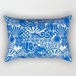 Chinese Symbols in Blue Porcelain Rectangular Pillow