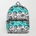 Circles and rings on striped background . Turquoise , black , white , grey . by decoli