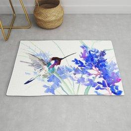 Flying Hummingbird and Blue Flowers Rug