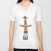 fandom V-neck T-shirts featuring The Fandom Totem Pole by Tricksterbelle Productions