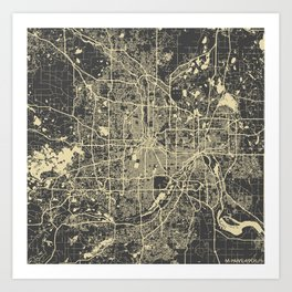 Minneapolis Map yellow Art Print