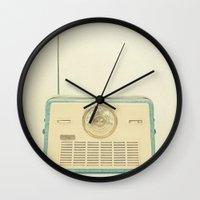 radio Wall Clocks featuring Radio Days by Cassia Beck