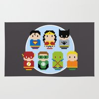 justice league Area & Throw Rugs featuring Pixel Art - Justice League of America parody by Cloudsfactory