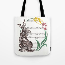 Spring Rabbit  (Jack rabbit and tulips on hymn) Tote Bag