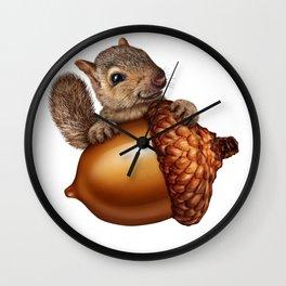 Funny Squirrel Holding An oak tree Acorn Wall Clock