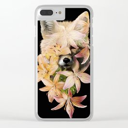 Foxy Flowers Clear iPhone Case