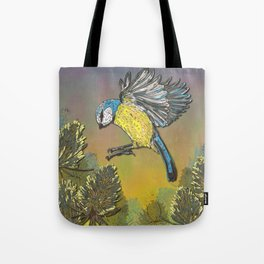 Blue Tit and Teasels Tote Bag