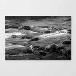 Water Reflections on the flowing Thornapple River in Alaska Michigan in Black and White Canvas Print