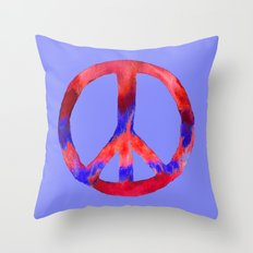 Patriotic Peace Sign Tie Dye Watercolor on Blue Throw Pillow