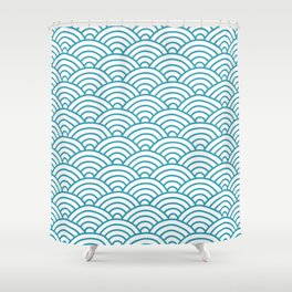 Japanese Waves Seigaiha Shower Curtain
