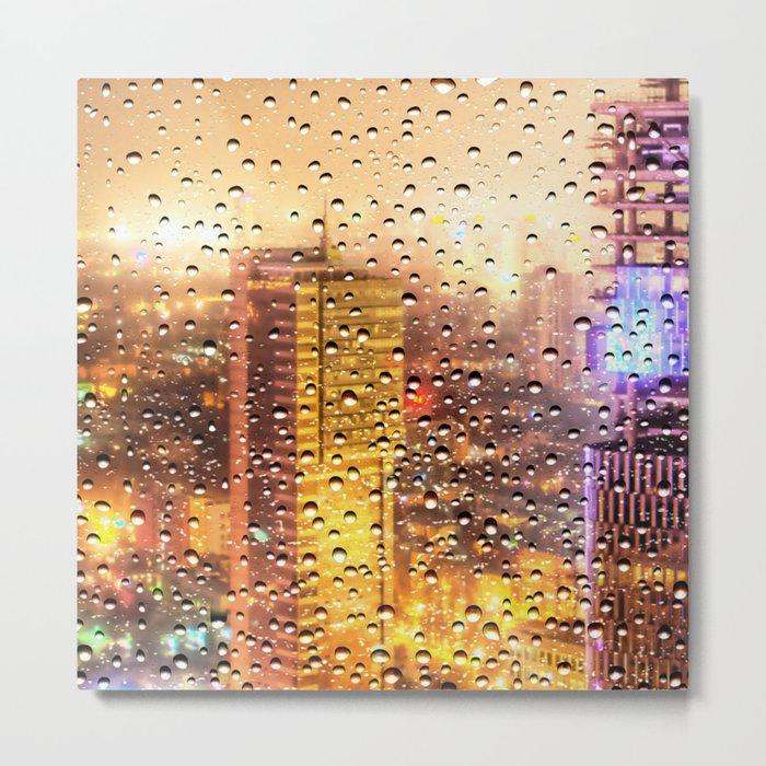 Rain Water drops Metal Print