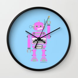 80s Mix Tape Robot - Clementine Wall Clock