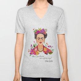 Frida Kahlo, Frida Print, Wall Decor, Female Icon, Flowers, Print, Female Gift, Spanish Quote, Frase Unisex V-Neck