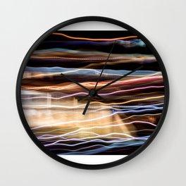 Colorful bright lights at night Wall Clock