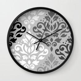 Scroll Damask Ptn Art BW & Grays Wall Clock