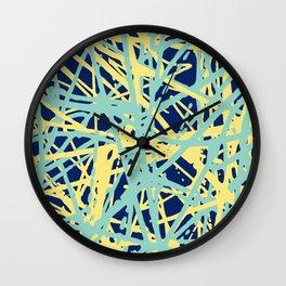 Daisy Scribble Navy, Mint and Lemon Wall Clock
