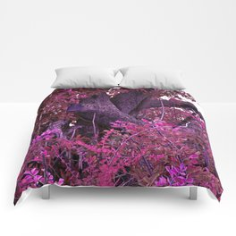 Pink red alien planet tree bright Comforters