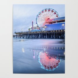 SANTA MONICA SUNSET - CALIFORNIA PACIFIC OCEAN PIER - LANDSCAPE PHOTOGRAPHY PRINT Poster