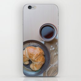 Croissant and black coffee iPhone Skin