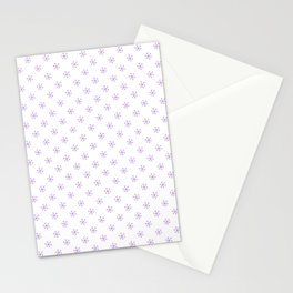 Lavender Violet on White Snowflakes Stationery Cards