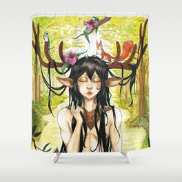 Forest deer Shower Curtain