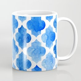 Quatrefoil pattern in shades of blue Coffee Mug