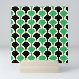 Classic Fan or Scallop Pattern 447 Black and Green Mini Art Print