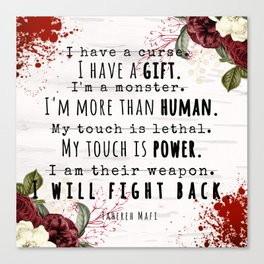 I Will Fight Back - Shatter Me by Tahereh Mafi Canvas Print