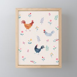 Little Hens (ivory) Framed Mini Art Print