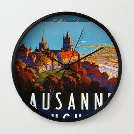 Lausanne Ouchy Travel Poster Wall Clock