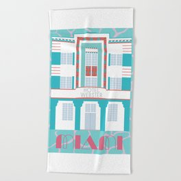 Miami Landmarks - Hotel Webster Beach Towel