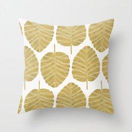 Elephant Ear Alocasia – Gold Palette Throw Pillow